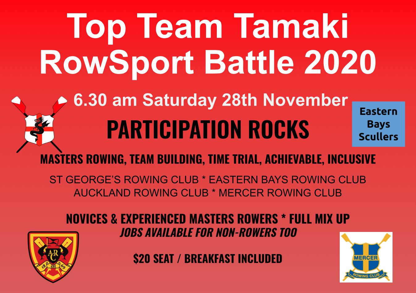 Tamaki Top Team RowSport Masters Regatta Saturday 28 Nov 2020